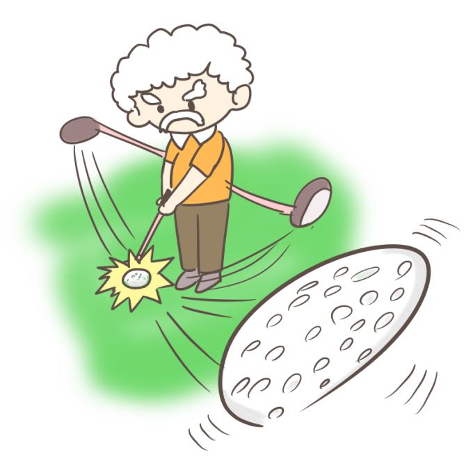 ゴルフをするおじいさん