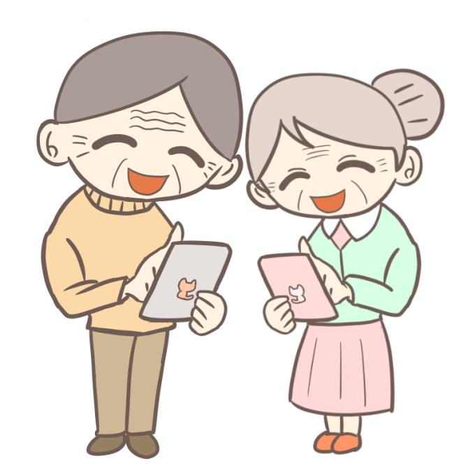 タブレットを操作するおじいちゃんとおばあちゃん