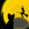ハロウィン用、黒猫と月食と魔女のフリーイラスト