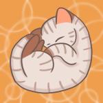 丸まって眠る可愛いキジトラのフリーイラスト(ニャンモナイト)