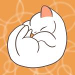 丸まって眠る可愛い子猫の白猫のフリーイラスト(ニャンモナイト)