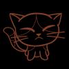 正面を向いた三毛猫のフリーイラスト(線画)