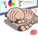 僕の場所ニャン♪キーボードを占領して寝てしまった猫のイラスト(キジトラ・黒靴下)