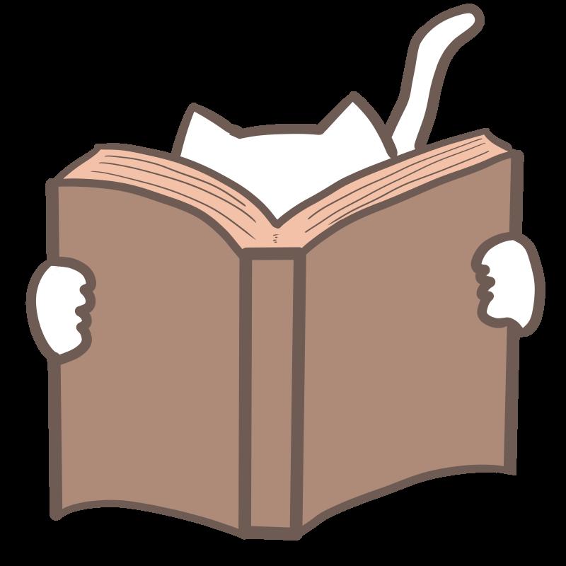 本を読む猫のフリーイラスト(白猫)