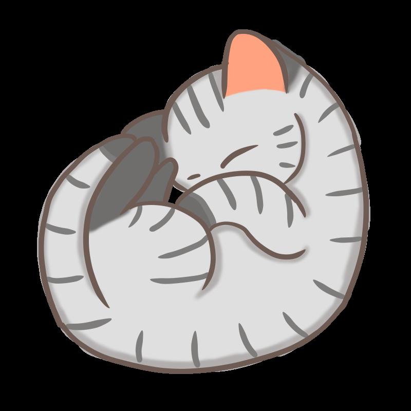 丸まって眠るサバトラ猫のフリーイラスト