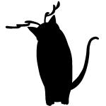 トナカイのコスプレをした猫のシルエット画像