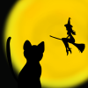 ハロウィン用、黒猫と満月と魔女のフリーイラスト