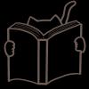 本を読む猫のフリーイラスト(線画)