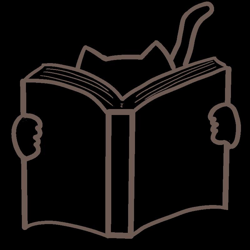 本を読む猫のフリーイラスト
