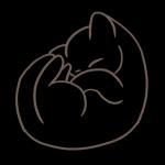 新しいフリーイラスト、丸まって眠る可愛い子猫の線画(ニャンモナイト)