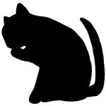 この仕草に一目ぼれ!顔を洗う猫のシルエット画像