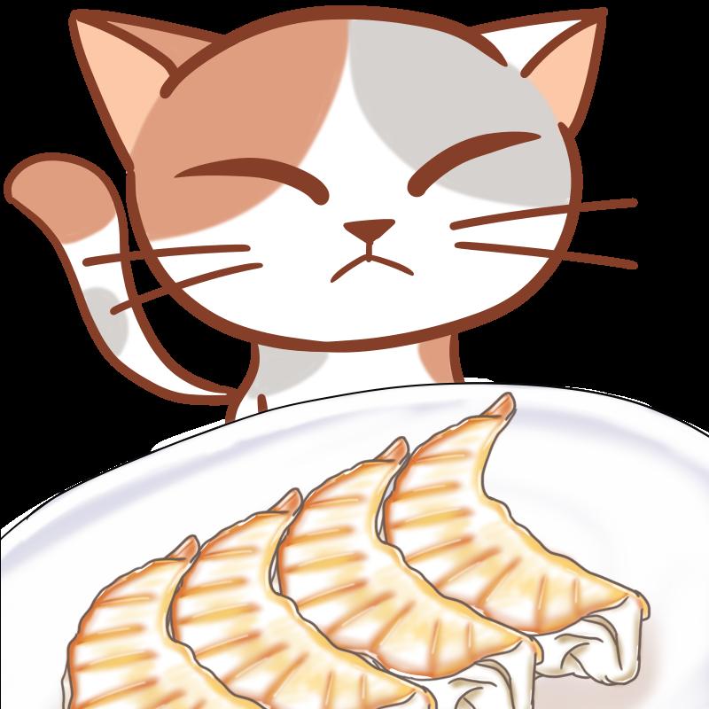 三毛猫と餃子のフリーイラスト