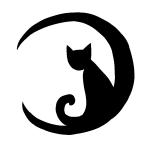 ハロウィンで!三日月と猫のシルエット画像