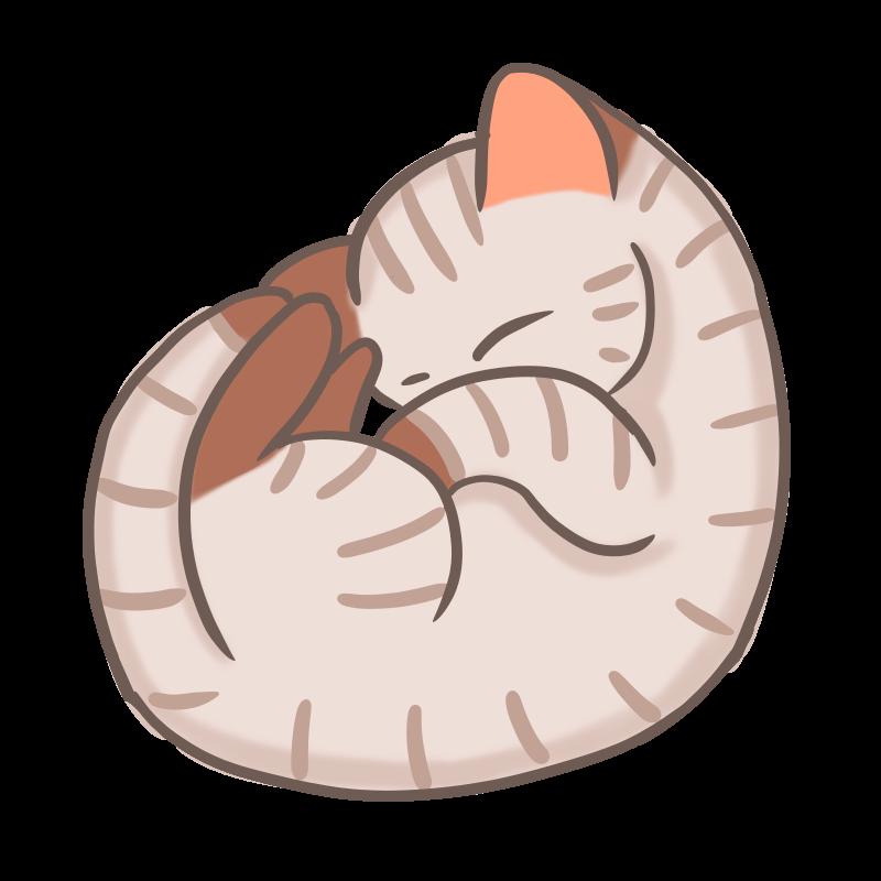 丸まって眠る可愛いキジトラのフリーイラスト