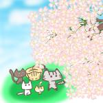 お花見する猫のフリーイラスト