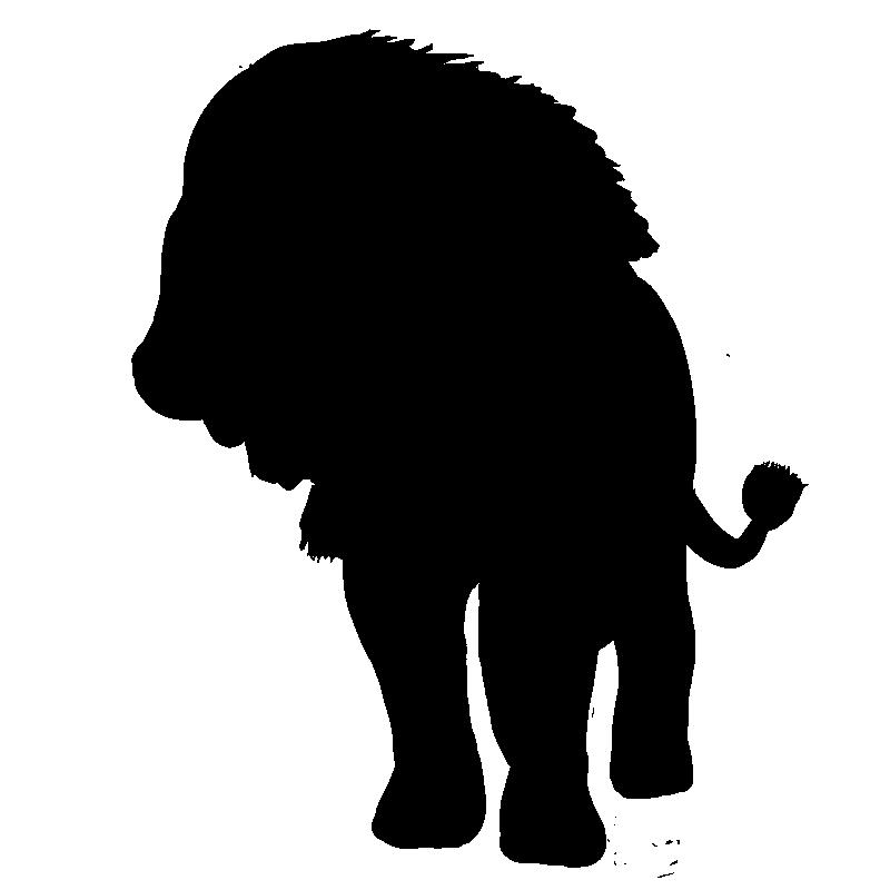 百獣の王ライオンのシルエット画像(1)