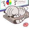 僕の場所ニャン♪キーボードを占領して寝てしまった猫のイラスト(サバトラ・黒靴下)