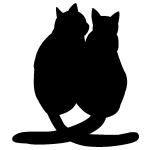 今夜は二人で…2匹寄り添う猫夫婦のシルエット画像