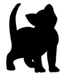 ごわ~ん♪ご飯をおねだりする子猫のシルエット画像